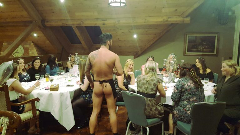 Topless butler at Coffee'n Cream event in Ireland