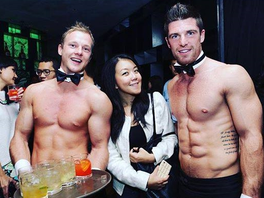Topless, half-naked butlers at a party in Limerick, Ireland