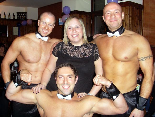 Topless butlers with a happy client in Galway, Ireland